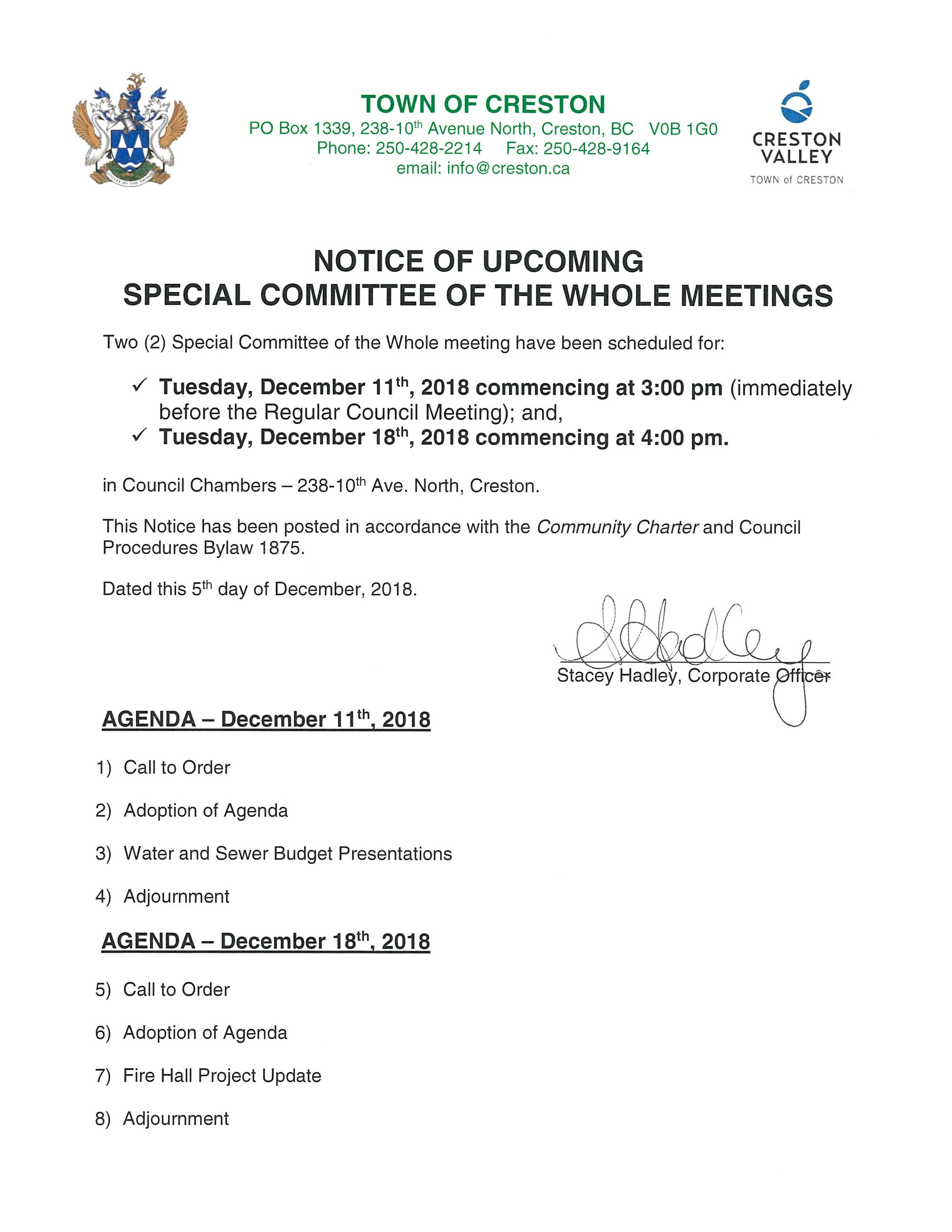 Special Meeting Notice